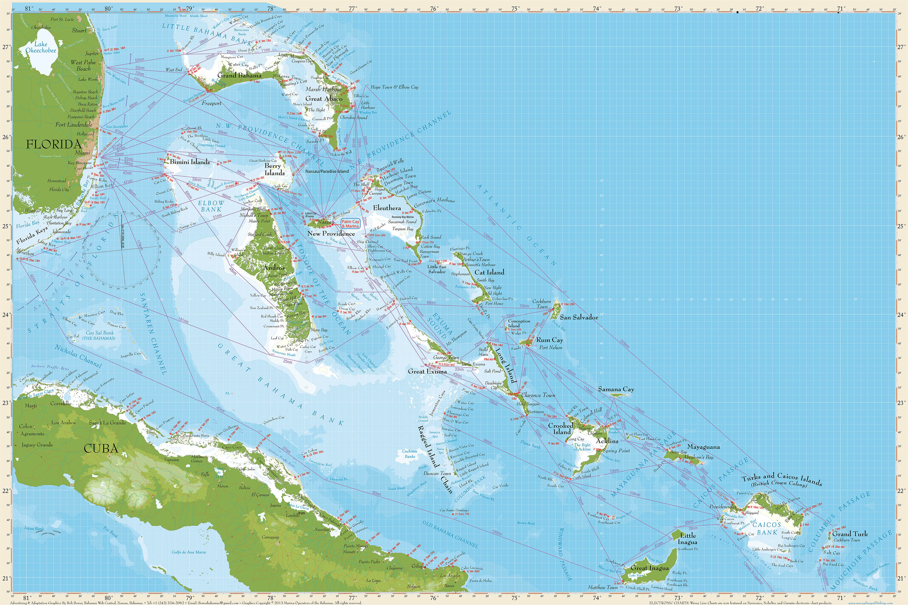 MARINE OPERATORS MAP OF THE BAHAMAS
